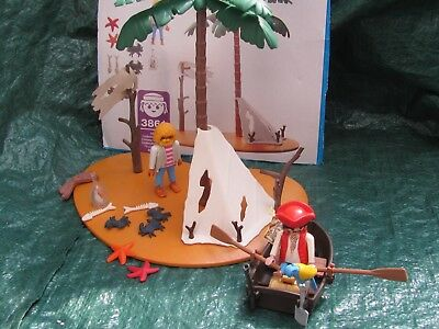 Playmobil Set 3861 Pirateninsel + Pirat mit Ruderboot, Papagei und Schatz