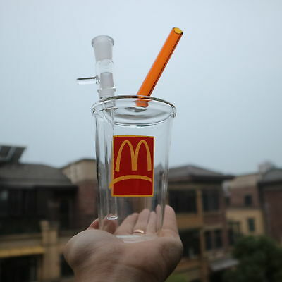 New Mcdonalds Cup Glass Bong Water Pipe Hookah Tobacco Use 14mm joint US free