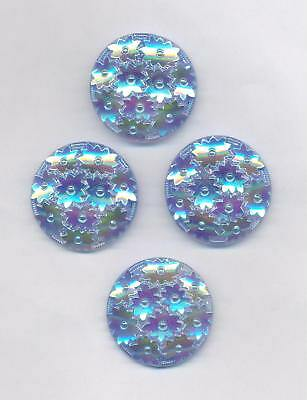 4 ALTE BLAUE GLAS-KNOEPFE CABOCHONS OHNE OESE GLANZ ø32mm (S63) SCHOENES MUSTER