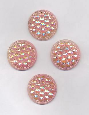4 ALTE ROSA GLAS-KNOEPFE CABOCHONS OHNE OESE GLANZ ø32mm (S62) SCHOENES MUSTER