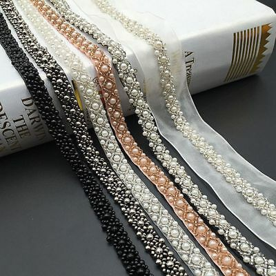 Beads Lace Trim White Black Ribbon for Wedding Dress Decor Sewing Accessories