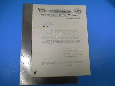 Vintage August 5, 1933 South Bend Lathe Works Indiana Letterhead M5935
