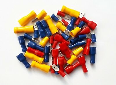 Male & Female Spade Terminals, Crimp Connectors 50 Pk Mixed Red, Blue, Yellow