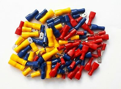 Male & Female Spade Terminals, Crimp Connectors 100 Pk Mixed Red, Blue, Yellow