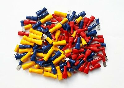 Male & Female Spade Terminals, Crimp Connectors 150 Pk Mixed Red, Blue, Yellow