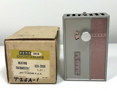 Vintage Mid-Century NOS PENN Controls Heating Thermostat 826-2000 w/Box 1960s