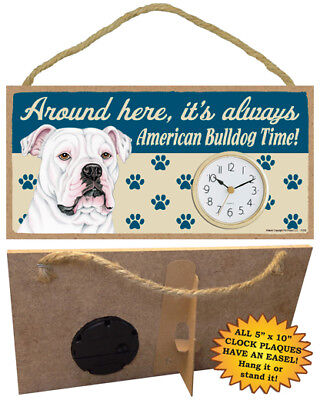 AMERICAN BULLDOG time CLOCK wood SIGN wall Desk Easel battery PLAQUE dog USA NEW