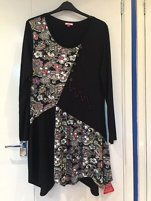 Bnwt Joe Browns Black And Floral Dress Size 18