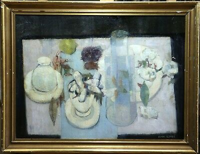 Cluade Schurr (1921-2014) Large Signed Still Life French Oil Objects Table