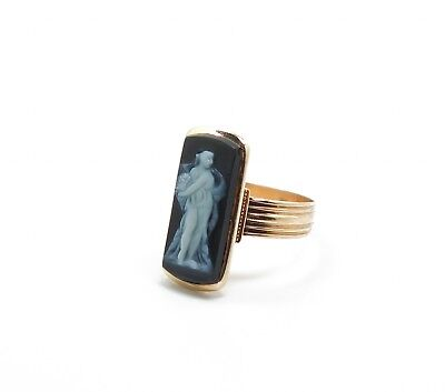Antique 1860s/70s 14K Gold Hard Stone Agate Greek Goddess Cameo Ring