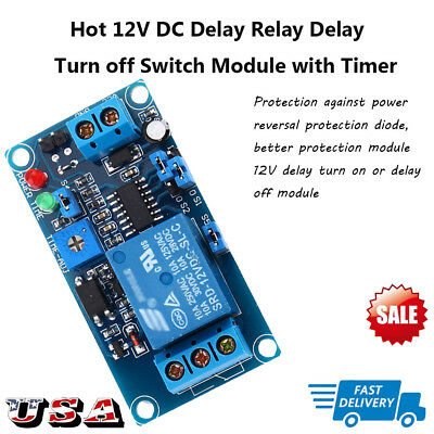 12V DC Delay Relay Delay Turn on / Delay Turn off Switch Module with Timer Hot
