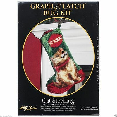 Christmas Latch Hook Kit Cat Stocking by MCG Textiles 12x17""
