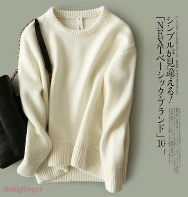 Women Cashmere Warm Wool Thick Loose Sweaters Pullover Sweater Crewneck Blouses