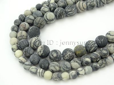 Natural Matte Spider Web Jasper Gemstone Round Spacer Beads 15'' 6mm 8mm 10mm
