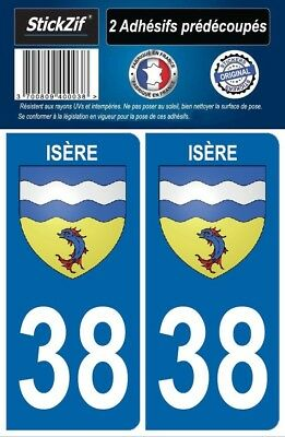 2 Stickers Auto Blason 38 Plaque Immatriculation Logo Region Rhone Alpes