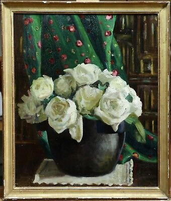 1920's LARGE FRENCH POST IMPRESSIONIST OIL ROSES IN VASE IN LIBRARY - LOVELY