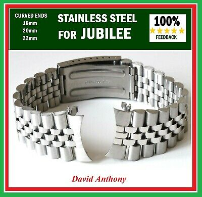 18mm 20mm OR 22mm JUBILEE STYLE LINK WATCH BRACELET. CURVED ENDS. GOOD QUALITY