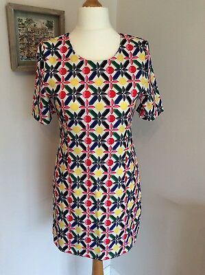Vintage Retro 1960s Print Shift Mini Dress Size 12 Brand New With Tags