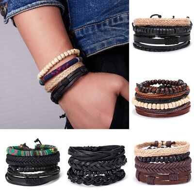4pcs/set Fashion Men Ethnic Leather Braid Tribal Wrap Bracelet Wristband Bangle