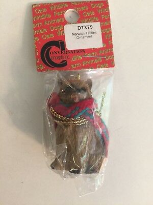 Norwich Terrier Ornament Mini Dog Figurine With Scarf Conversation Concepts New