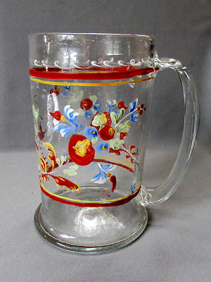 Early ANTIQUE 17th - 18th Century Hand Enameled Blown Glass Flask TANKARD