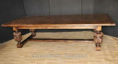 Large Refectory Table - French Farmhouse Oak Kitchen Dining Tables