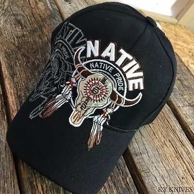 Bull SKULL Western Style Native Pride BLACK Baseball Ball Cap Hat NEW