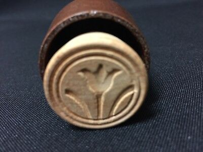 Vintage Miniature Hand Carved Tulip Print Plunger Style Butter Stamp