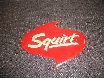Vintage 1960s Squirt Soda Embossed Paper Foil Advertising Sign