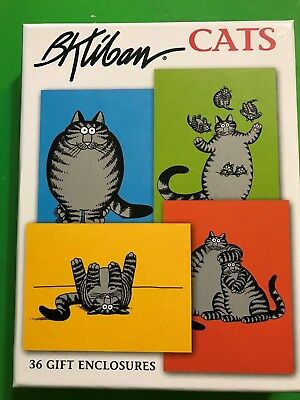 New B. Kliban 36/pk Cat Gift Enclosures tag Note Cards w/envelopes Cartoon 4 ea