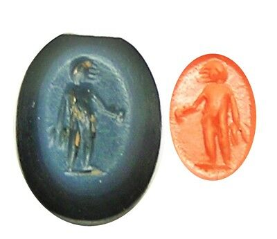 2nd century A.D. Ancient Roman Nicolo Gemstone Intaglio of a Standing Figure