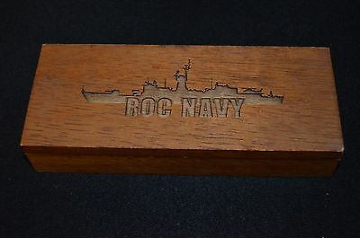"""RARE VINTAGE Laser Engraved Wooden Cigar Humidor """"ROC NAVY"""" with Warship"""