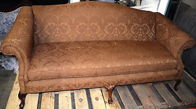 Antique Chippendale Sofa with Chocolate French Damask Upholstery