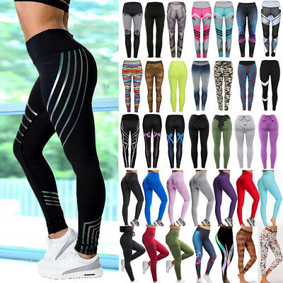Women High Waist Yoga Pants Fitness Leggings Workout Exercise Sports Trousers G2