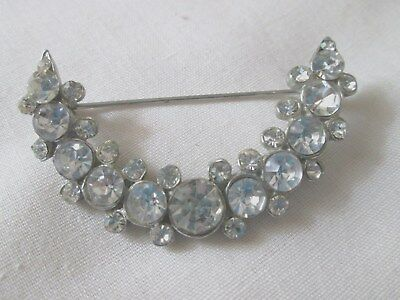 Vintage Jewelry Clear Rhinestone  Pot Metal Pin Brooch Art Deco
