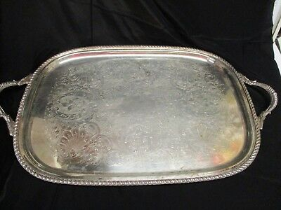 Antique Large Ornate Silver Plate Tray with Handles, Big enough for a Teaset