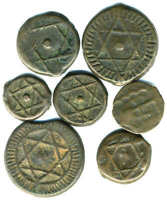 XS- MOROCCO Lot x7 Very old COPPER COINS  To Identify