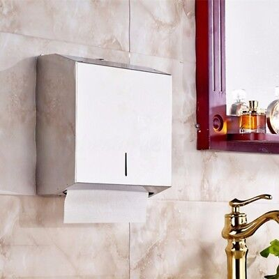 Wall Mounted Paper Towel Dispenser Storager Lock Toilet Washroom Stainless Steel