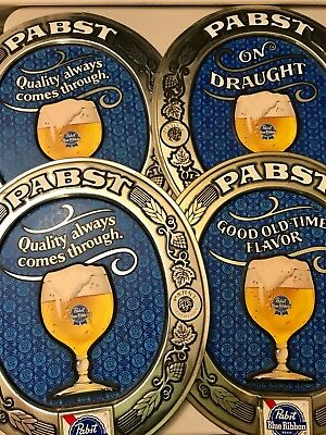 "4 Vintage Pabst Blue Ribbon Beer Plastic Signs ""On Draught"" 16x19"