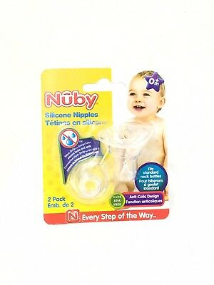 Nuby 2-Pack Standard Neck Vari-Flo Non-Drip Silicone Nipples Soft BPA Free New