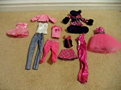 Fao Schwarz Exclusive Barbie Fashions Clothes Lot Of 11 Pieces Tops Gown Pants