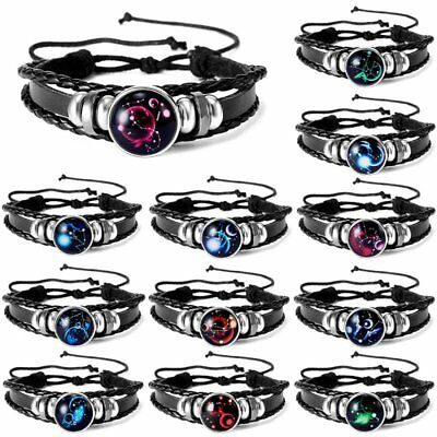 Fashion Unisex 12 Constellation Zodiac Round Pendant Leather Bangle Bracelet Hot