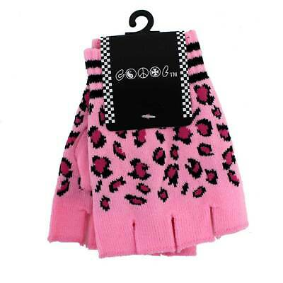Knitted Pink Leopard Print Fingerless Gloves Animal Print Hand Warmers