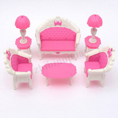 6PCS Dollhouse Furniture Living Room Sofa Barbie Set Couch Chair Table Armchair