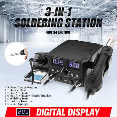 3-IN-1 LCD Solder Station Soldering Iron Desoldering Rework Hot Air Heater Tool