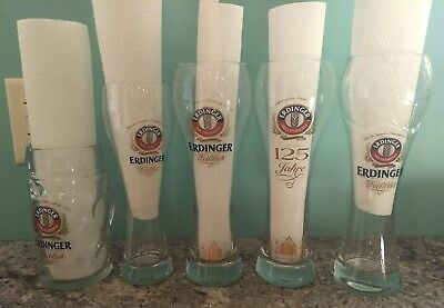 Erdinger Beer Glasses, Dimpled Mugs, Weizen glass Several kinds .5L .3L 125 year