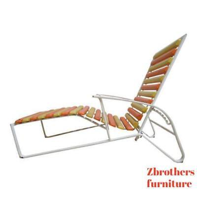 Vintage Mid Century Outdoor Patio Wave Chaise Lounge Chair