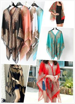 WHOLESALE BULK LOT 10 MIXED COLOUR Chiffon Kimono Cape Kaftan Poncho Top sw093