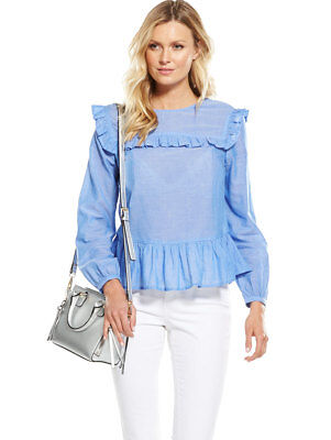 V by Very Frill Bib Blouse in Blue Size 8