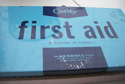 Vintage Curity  Metal Wall First Aid Kit Industrial 1950'S All Products Included